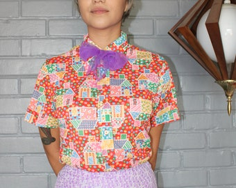 Vintage 1970's Short Sleeve button up Print blouse