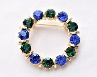 "Vintage Rhinestone Geometric Circle Wreath Brooch 1.25"" Coat Sweater Pin Blue Green Gold Tone Retro Costume Jewelry"