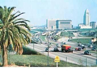Vintage Mid Century Los Angeles CA Postcard New Hollywood Freeway Vintage Cars Highway Scene Unposted
