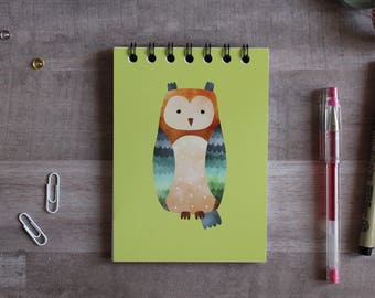 NOTEPAD. A6 Cute Owl Spiral Notepad. Soft 300 gsm Card Cover. 120 blank pages. Matte lamination pleasant to the touch.