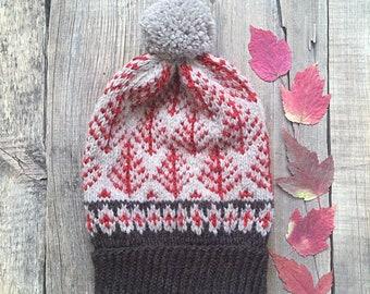 Woodland hat, Knit Hat, Scandinavian hat, Alpaca hat, Winter Hat, Pom-pom hat, fair isle wool hat, norwegian hat, nordic hat, icelandic hat