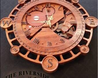 steampunk wall clock wooden wall clock rustic wall clock wood clock wooden