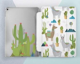 Cute Llama & Cactus around iPad case iPad pro 10 5 case iPad pro 12 9 case iPad mini case iPad 5th gen case iPad mini 4 case iPad air 2 case