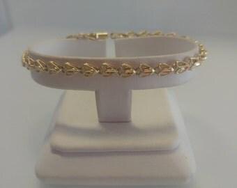 14k Gold Diamond Cut Heart Bracelet