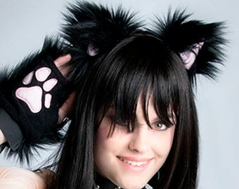 PrittenPaws Clip In Cat Ears Furry Kitty Kitten Play Hair clips Fluffy Best Pink Blue Purple Black White Brown Tan Gray Light Up