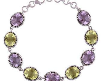 Women Jewelry Link Connector Clasp Lock Amethyst Lemon Topaz Gemstone 925 Sterling Silver Bracelet