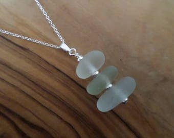 Pale Stacked Sea Glass Sterling Silver Necklace, Pendant, Stack, Seaglass, Beach Glass Jewelry, Seaham, Beach Jewelry