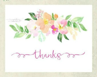 Thank You Card - Pastel Floral Bouquet - Notecard Set - Stationery