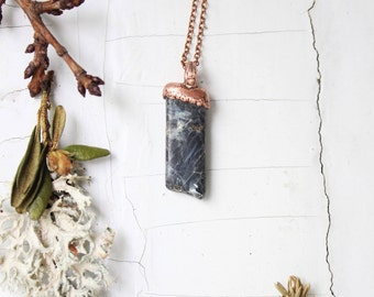 Electroformed labradorite necklace Labradorite pendant  Electroformed jewelry Raw labradorite necklace Boho jewelry Gift for girl For her