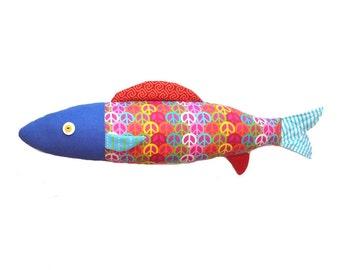 Hippie. Fish. Sardine cushion. Design. Furnishing accessories. Made in Quebec. 54 cm.