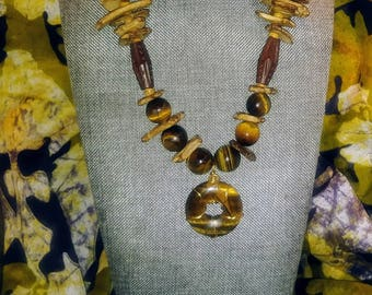 Tigereye and Ukanite Stone Necklace