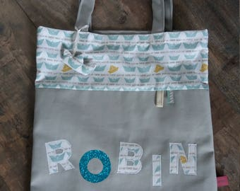 Tote bag personalized boat themed boy