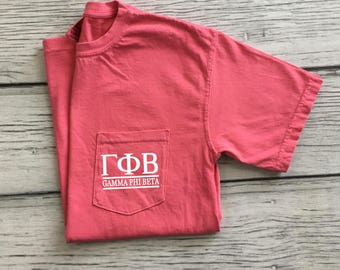 Gamma Phi Beta Pocket Tee, Gamma Phi Beta T-shirt, Sorority Pocket Tee, Little Sis gift, Greek letter shirt, Sorority Gift, Gamma Phi Beta