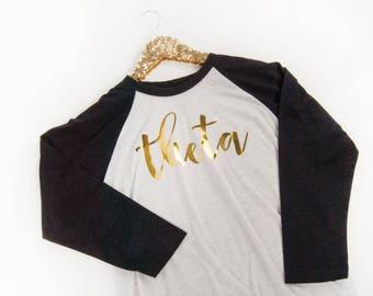 Kappa Alpha Theta, Theta Shirt, Theta Baseball Shirt, Sorority, Comfy sorority shirt, Gift for Little, Sorority gift, Theta T-shirt