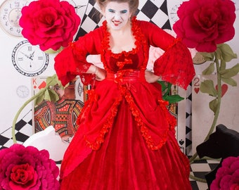 Gothic Victorian Antique Red Queen Dress  (any color and decoration is possible)