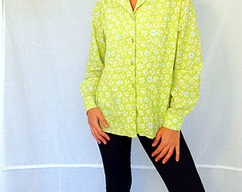 Loose shirt women waffle cotton shirt long sleeve lime green orange floral daisy blouse size Medium vintage 1990s
