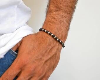 Beaded Bracelet Men, Black Bracelet, Black Beaded Bracelet, Men's Bracelet, Gift for Him, Made in Greece by Christina Christi Jewels.