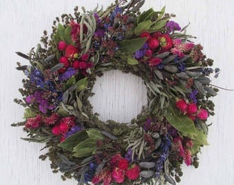 dried flower and herb wreath with pink, purple and blue/colorful dried flower and herb wreath /dried flower wreath/rustic wreath/herb wreath