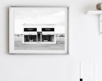 PRADA Marfa ART PRINT| Fashion Photography | Fashion Art Print Black And  White Print |