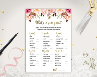 Whats in your Purse Game Printable Bridal Shower Purse Game Floral Bridal Shower Game Digital Purse Game Shower Activities Instant Download