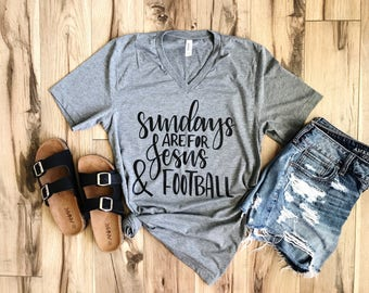 Football Graphic Tee - Christian Tee - Woman Football Shirt - Jesus Shirt - Sunday Shirt - Graphic Tee - Mom Graphic Tee - Woman Graphic Tee