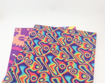 Vintage folders, set of 2 pocket folders from the 90s, back to school, school supplies