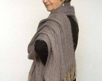 Handwoven mohair shawl. Large scarf tan and blue, mohair and tencel. Handwoven pashmina wrap.