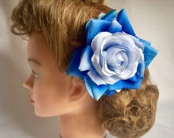 Rose hair flower clip, handmade, blue hair flower, gift for her, vintage style, large hair flower, large rose, 40s style, large rose,
