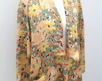 Beautiful 1930s robe kimono floral satin Art Deco vintage antique