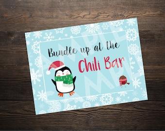 Chili Bar Sign // Winter ONEderland or Wonderland Party //  5 x 7 and 8.5 x 11 // Instant Digital Download PDF // BLUE