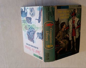 antique 1965 book - prince and the pauper & just so stories by companion library and grosset and dunlap double story book - clemens kipling