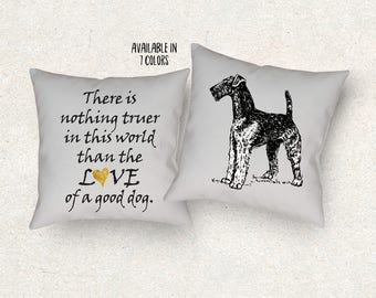 Airedale Dog pillow. Airedale cushion. Dog lover gift. Dog sofa cushion. Dog quote cushion. Airedale drawing. Dog Throw pillow.