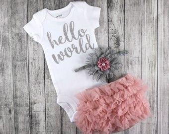 NEWBORN Girl Coming Home Outfit, NEWBORN Baby Girl, Baby Girl Take Home Outfit, Dusty Rose  Bloomers and Grey  Headband Set