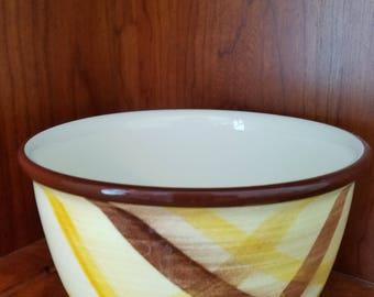 """Vernonware Organdie 7"""" Brown-Yellow Plaid Mixing Bowl"""