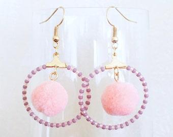 Pink Purple Alice in Wonderland Earrings with Pompom Pendant / Rose Violet Alice au Pays des Merveilles BO Miyuki Perles / Halloween
