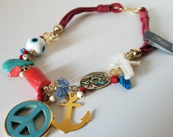 Necklace with variety of charms