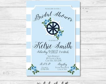 Nautical Bridal Shower Invitation, Baby Blue Bridal Shower Invitation, Shipswheel Invitation, *DIGITAL FILE*