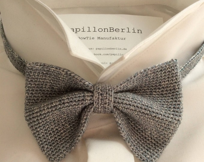 Knit tie, 100% silk, grey/stone grey/grey green
