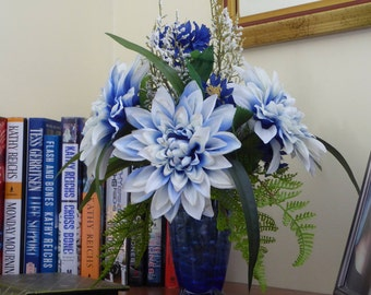 Penn State Proud, Blue and white silk flower arrangement, Blue and white mums