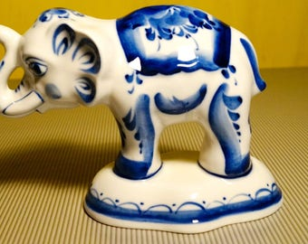 Gzhel Russian Porcelain Figurine circus elephant ceramic figurine made in Russia hand painted Souvenirs Russia