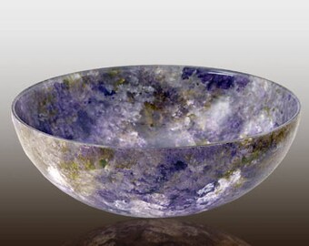 Glass Bowl Hand Painted Small Wide Serving