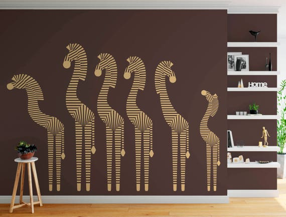 Zebras, Zebra Modern Decorative Design Decor Vinyl Wall Mural Art Decal