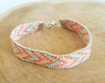 "Friendship Bracelet ""Orange, blue & pink"""
