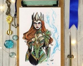 DC Justice League- Mera- art print 5x7