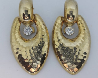 Crystal Clear Rhinestone and Gold Plated Vintage Pierced Earrings