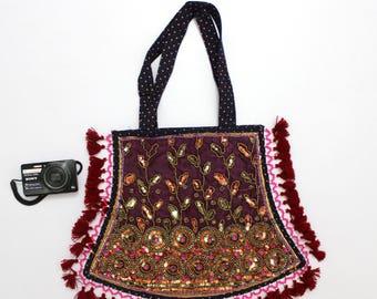 Handmade Ethnic Designer Tribal Banjara Patchwork Embroidered Hippy Fashionable Stylish Trendy Hippie Gypsy Boho Bohemian Fancy Bag G275