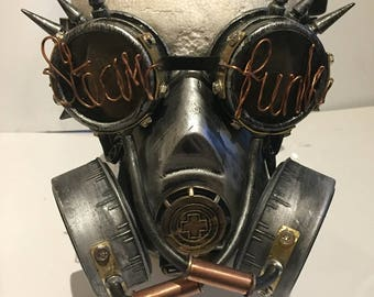 Steampunk Respirator Gas Mask And Spikey Goggles With Steampunked Lens, Post Apocalyptic Survival, Mad Max, Burning Man Wasteland Style