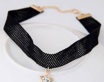 Vintage Black Lace with Golden Crystal Star Choker