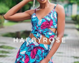Moni African top, Off shoulder top, african print top, floral print top, top, blouse, crop top, midriff top
