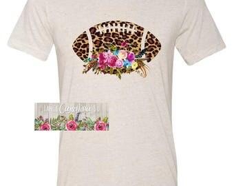 Boho Leopard Floral Football Shirt, Boho Football Shirt, Leopard Floral Football Shirt